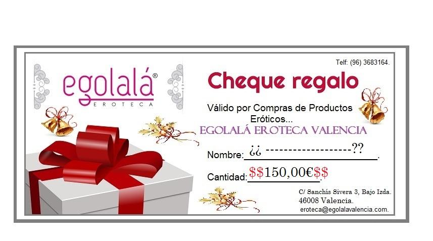 Sorteo Navidad Tienda cheque regalo 150€ egolala eroteca valencia